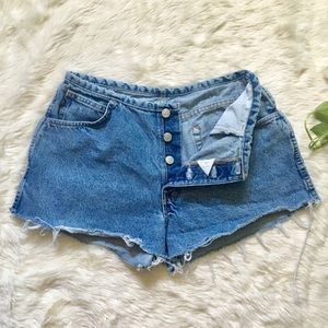 Vintage Button Fly High Rise Cut Off Mom Shorts